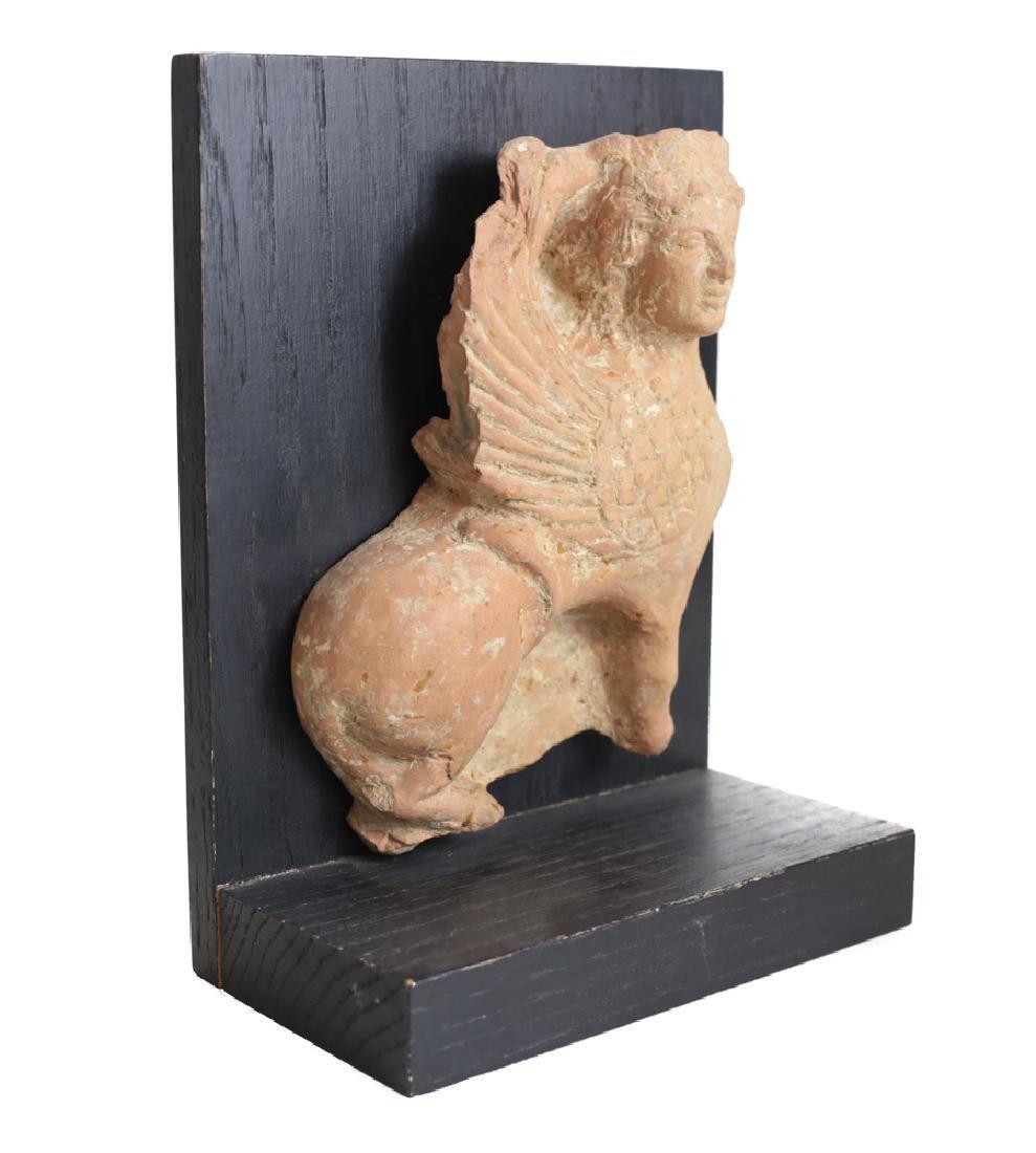 Archaic Grecco Roman Fragment Terra Cotta SPHINX Plaque - 2