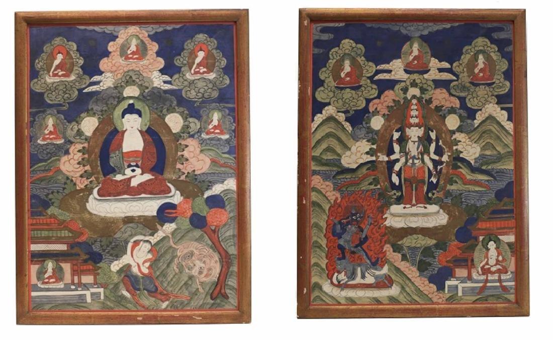 19th century Pair of Tibetan Thangka