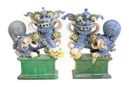 Pair of Chinese Shiwan Pottery Stoneware Foo Dogs
