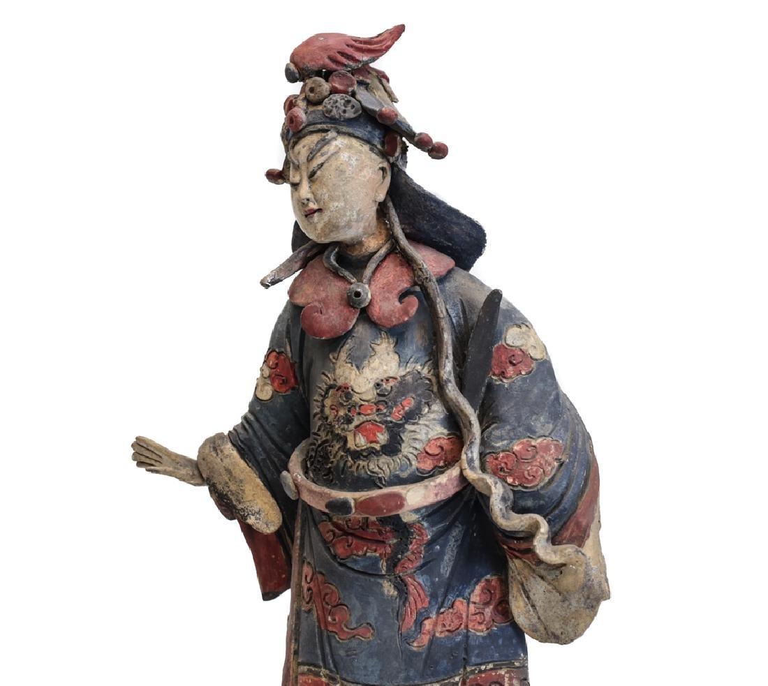 Large Chinese Polychrome Stucco Figure Decoration