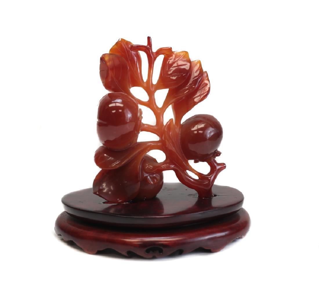 Carved Carnelian Persimmon Sculpture