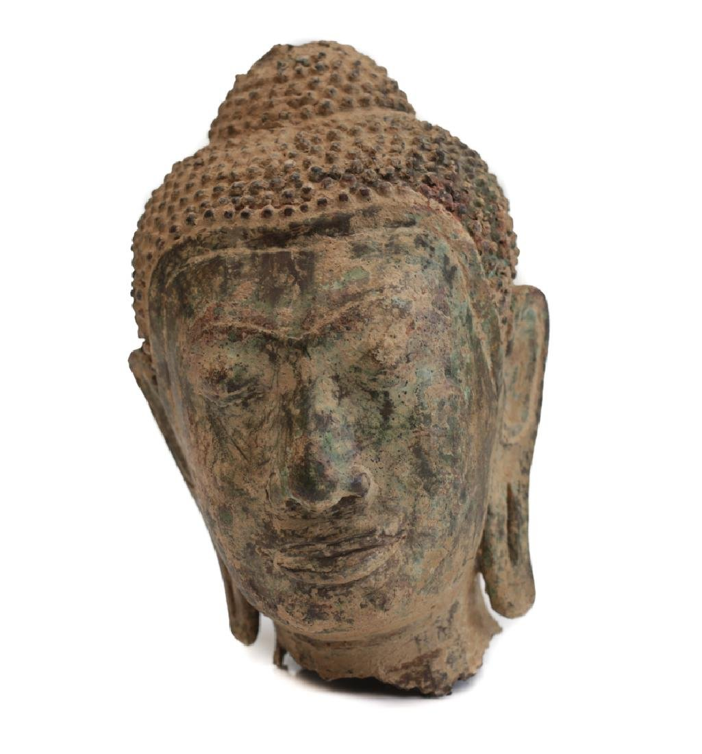 Thai Buddhist Bronze Head Fragment
