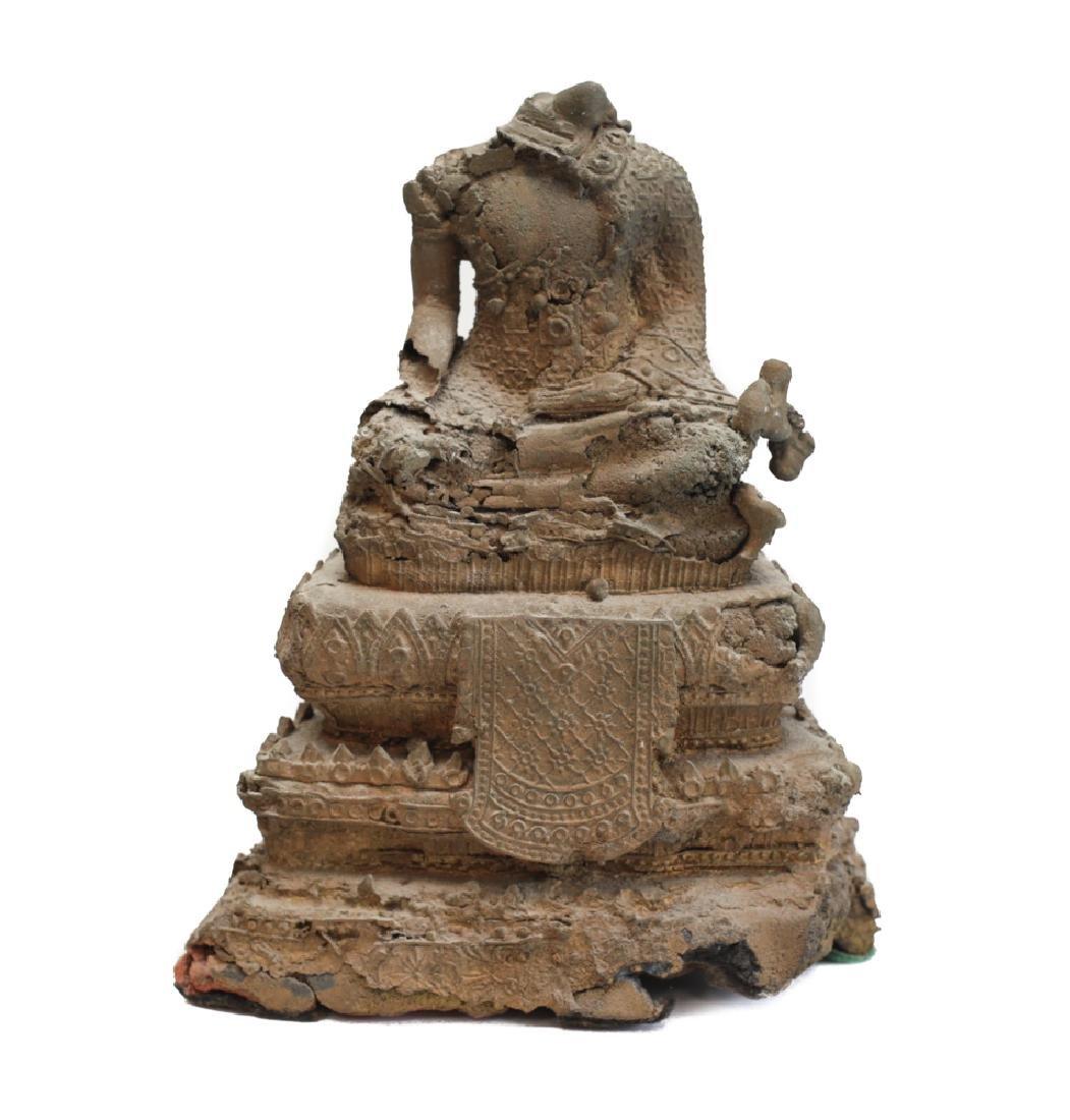 Seated Gilt Bronze Buddhist figure, hands in