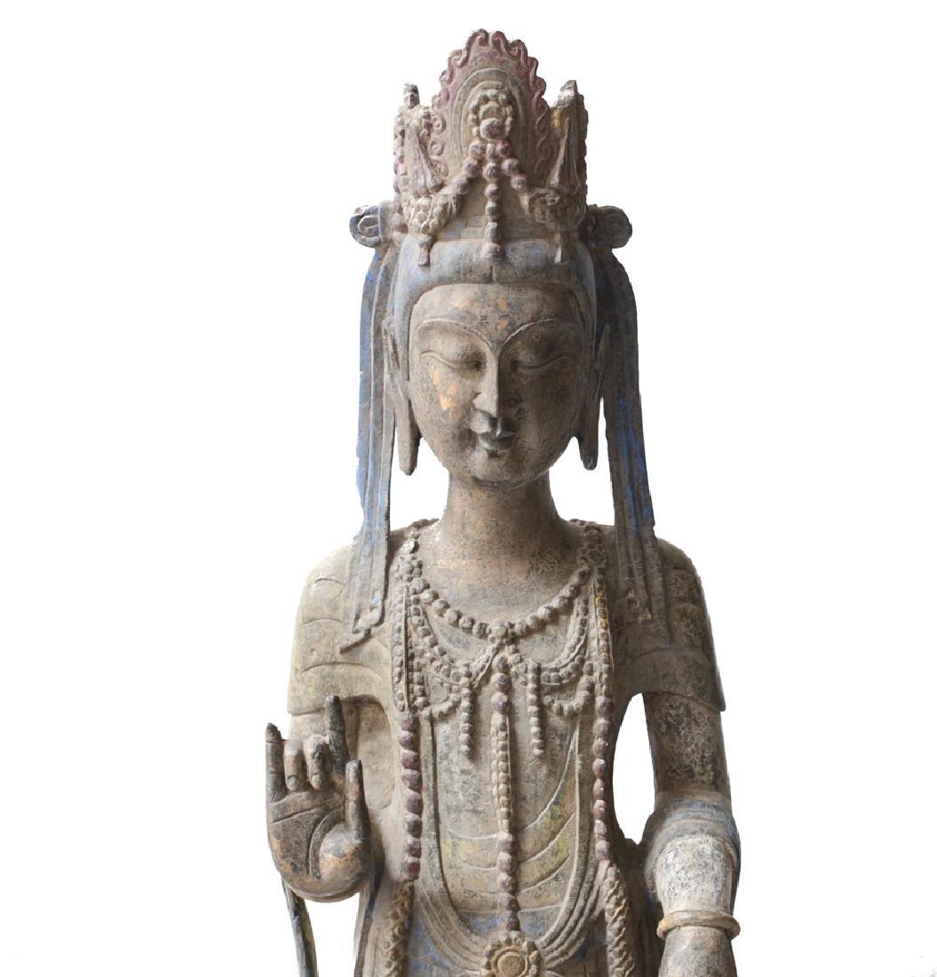 Monumental Chinese Kwan Yin Polychrome Archaic? bronze