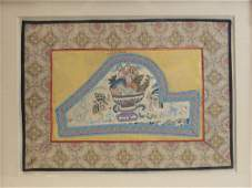 Antique Chinese Silk Embroidered Panel, framed.