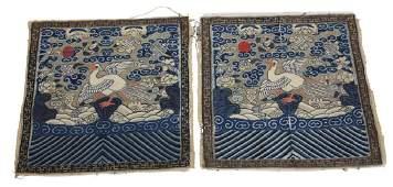 Chinese Mandarin Square Silver Pheasant 5th rank badges