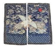 Chinese Mandarin Square Silver Pheasant 5th rank badge