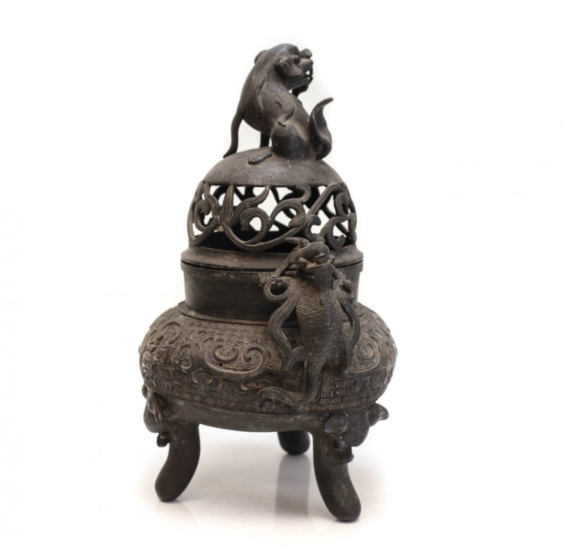 Chinese patinated bronze Footed censer, Xuande mark - 2