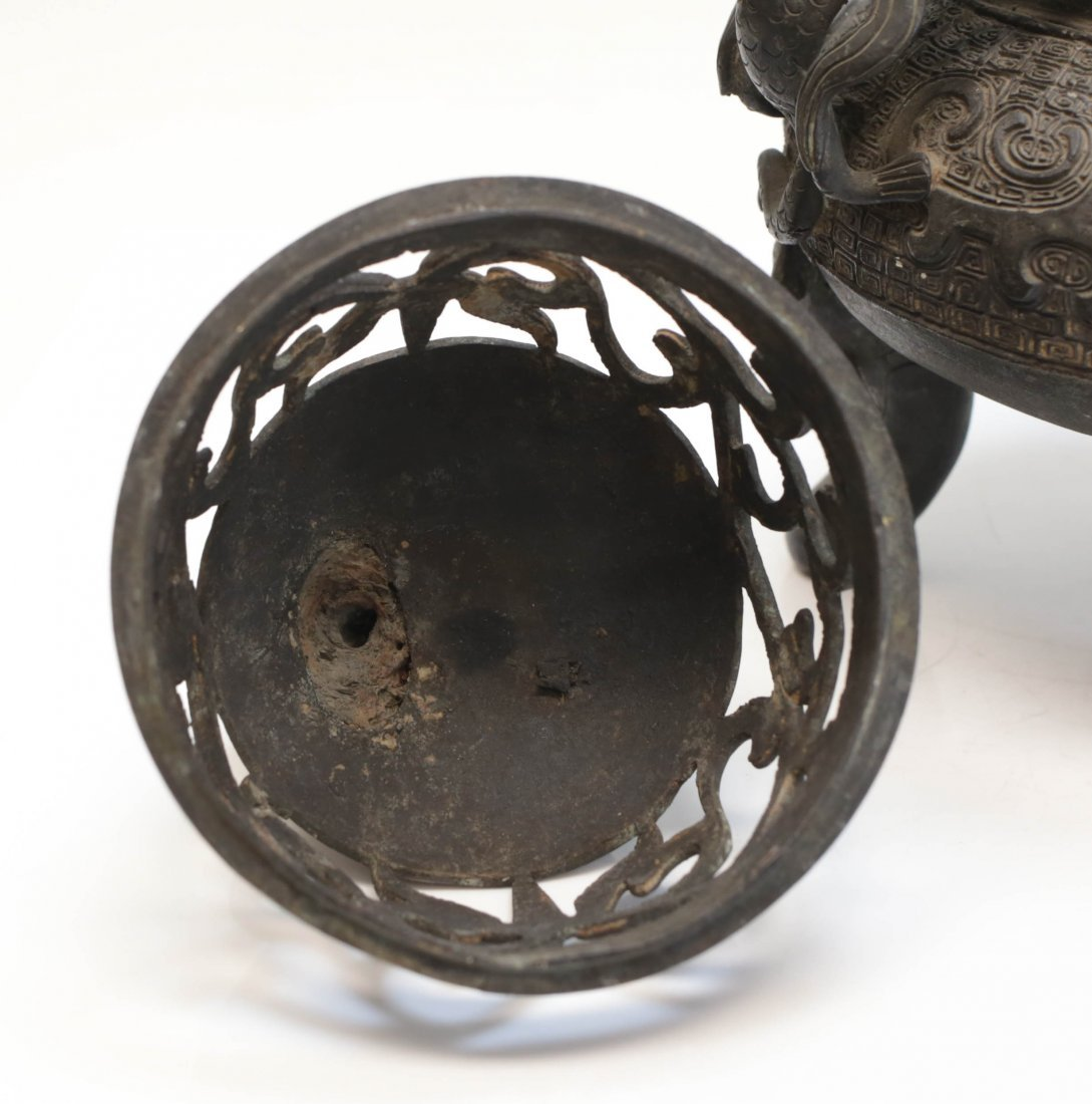 Chinese patinated bronze Footed censer, Xuande mark - 4