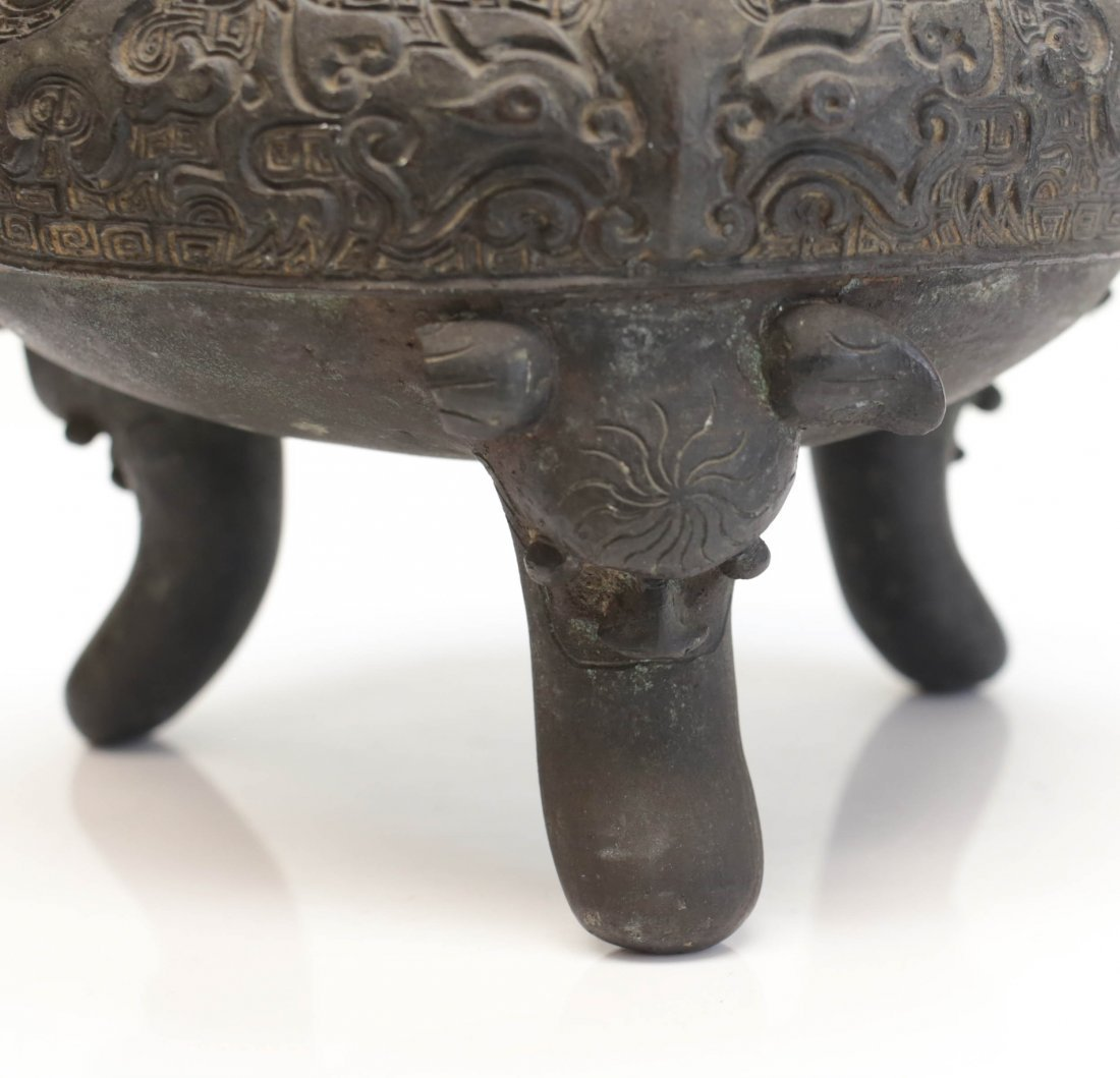 Chinese patinated bronze Footed censer, Xuande mark - 7