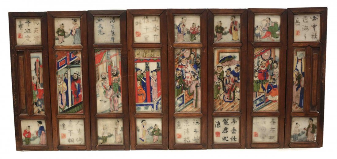Chinese Hand Painted Marble Table Screen