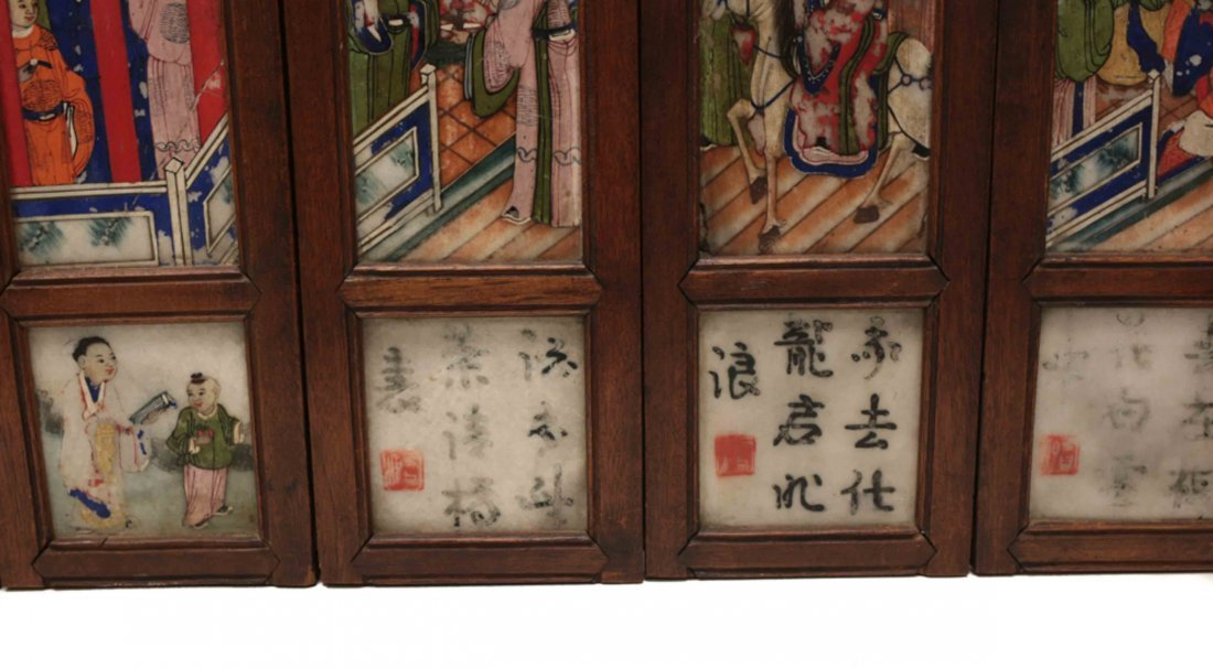 Chinese Hand Painted Marble Table Screen - 4