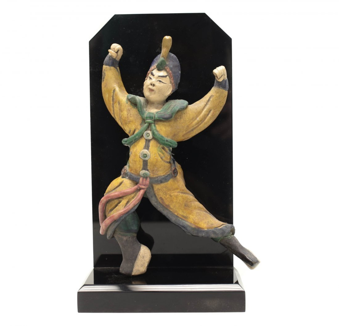 Chinese Polychrome Stucco Figure Decoration