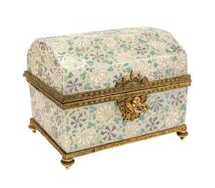 Stunning Baccarat Art Glass footed casket 19th century