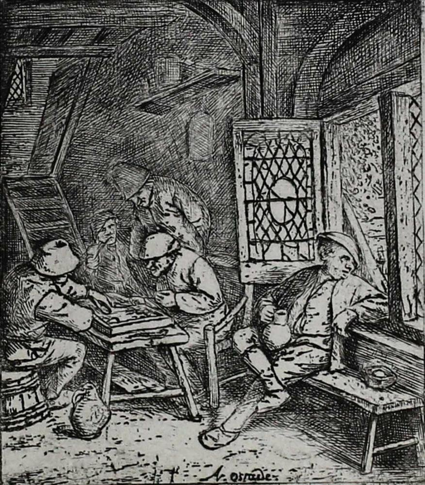 Adriaen Jansz Van Ostade Etching Backgammon Players