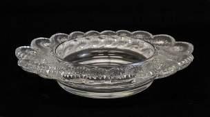 Lalique France AURIAC Art Glass Bowl, stunning twist