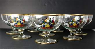 8pc English Glass Dessert Sherbet Glasses hand painted