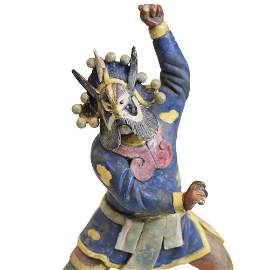 19th c Chinese Polychrome Stucco Roof Figure character