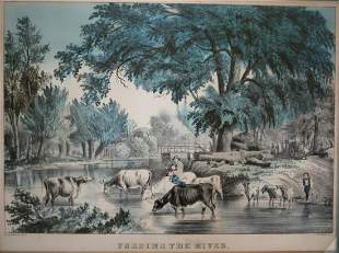 Nathaniel Currier Hand colored Lithograph Captioned,