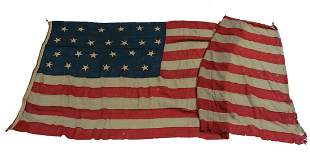 Antique US American Flag 25 Stars 1836-37 hand stitched