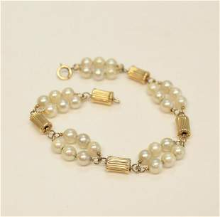 Vtg 14k Yellow Gold and Cultured Pearl Bracelet, ridged