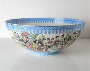 Large Chinese Jingdezhen Eggshell Porcelain Bowl, hand