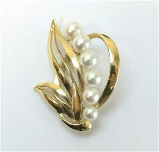 Vintage 14k Yellow Gold Pearl Brooch, open work leaves