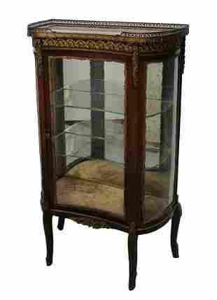19th century French Vitrine Glass Front Mahogany veneer