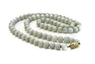 "Jadeite Jade Beaded Necklace Strand 28"" gilt sterling"