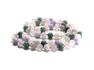 "Jadeite Jade Beaded Necklace 31"" Multicolored green"