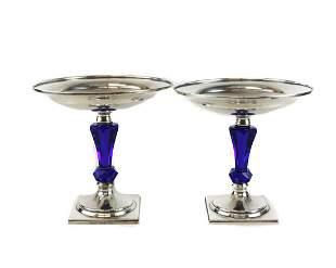 Pair Hawkes Sterling Silver, Cobalt Blue Art Glass