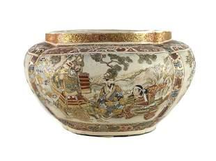 Meiji Satsuma Japanese Craquelure Porcelain Hand