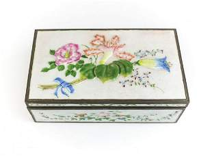 Chinese Silver and Enamel Cigar / Tobacco Box early