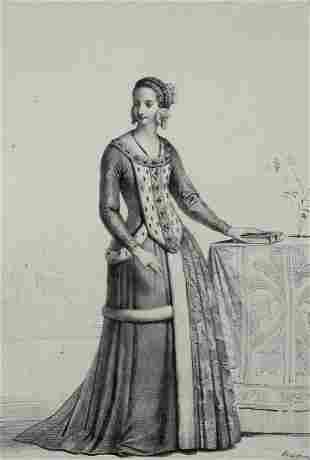 Achille Deveria (French 1800-1857)  Lithograph Dame de