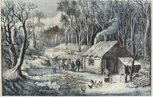 Currier & Ives Colored Lithograph Home in the