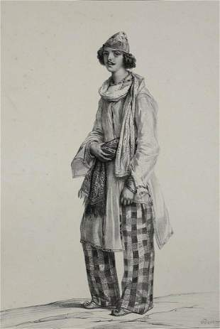 Achille Deveria  (French 1800-1857)  Lithograph Indien,