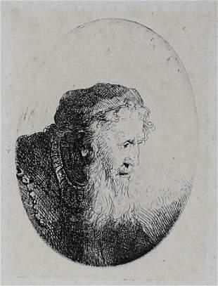 Ferdinand Bol Dutch 1616-1680 Etching & Drypoint Man in