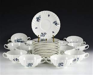 Service for 13 Royal Worcester Blue Spray Cream Soup