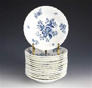 """14pc Royal Worcester Blue Spray Berry Bowls, 5 1/2"""","""