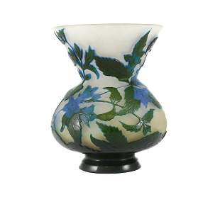 Emile Galle Art Glass Cameo Acid Etched Concaved Vase,