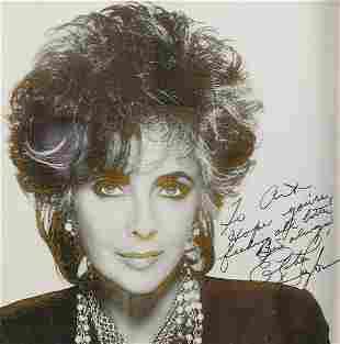 Elizabeth Taylor Autographed Photograph in Gilt & Black