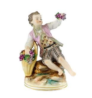 Volkstedt German Porcelain Figurine Young Boy w/ gilt
