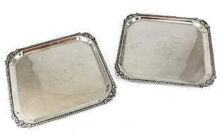 Pair B. Rogers Silverplate on copper Square Trays #6707