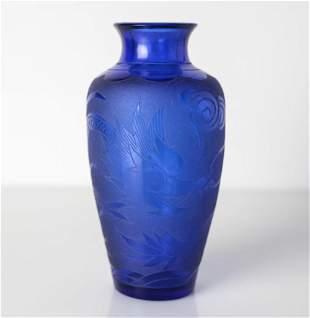 Cobalt Blue Chinese Peking Glass Vase