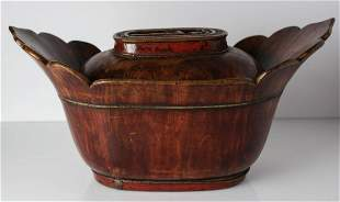 Chinese ingot shape wood and lacquer covered Bowl