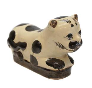 Chinese Cizhou Pottery Pillow, spotted cat