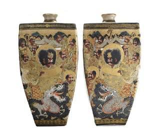 19th century Japanese Cracquelure Satsuma Vases