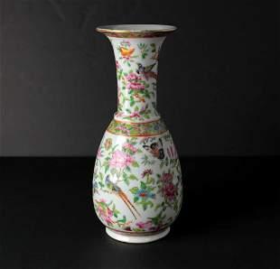 Chinese Rouleau Famille Rose Medallion Porcelain Vase