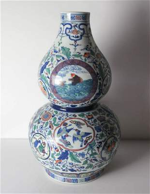 Wucai Hulu-ping double gourd porcelain vase