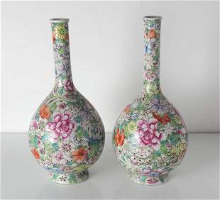 Pair of Chinese Famille Rose Thousand Flower porcelain